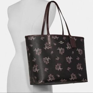 Coach Reversible City Tote With Ribbon Bouquet